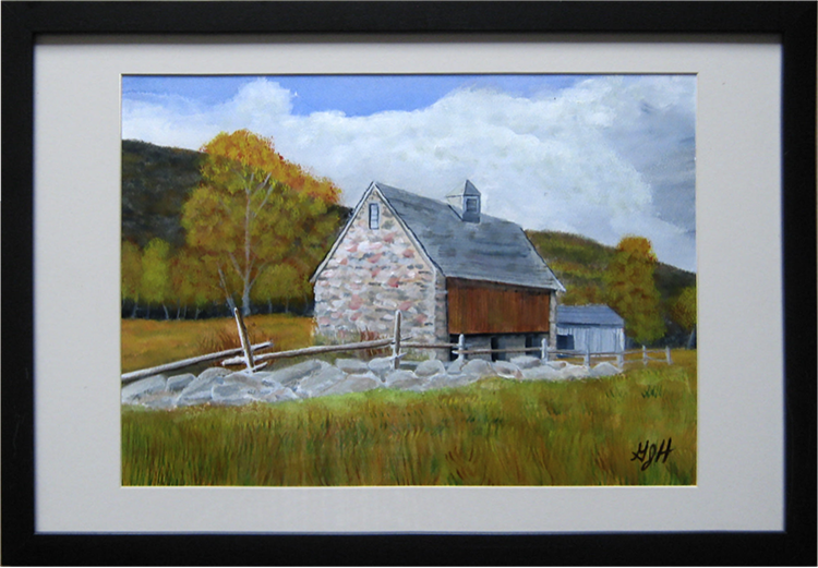 STONE BARN: Water Color Painting by George J Held, Warwick, NY artist
