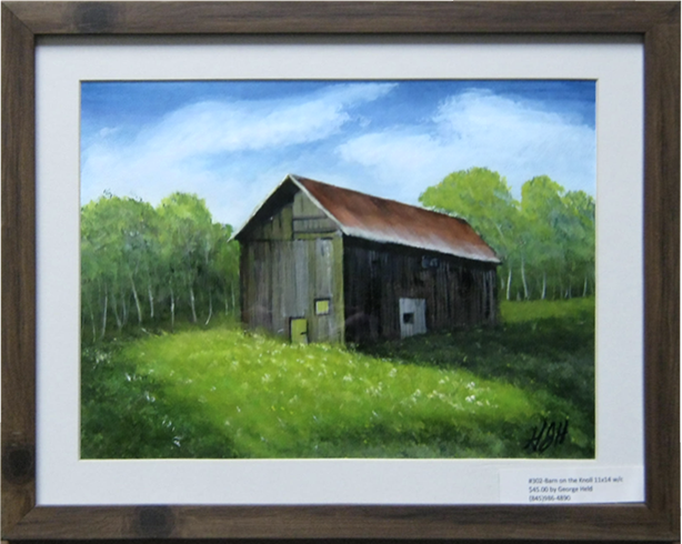 Barn on a knoll - painting by Warwick, NY artist George J Held
