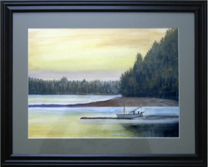 Stop to fish - Painting by Warwick, NY artist George Held